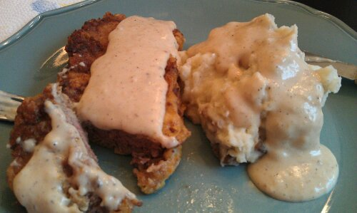 Chicken-Fried Steak and Gravy with Garlic Roasted Mashed Potatoes