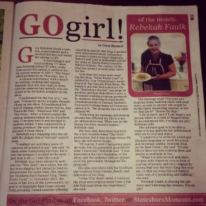"I am honored to be the March 2014 ""Go Girl!"" in Moments Magazine."