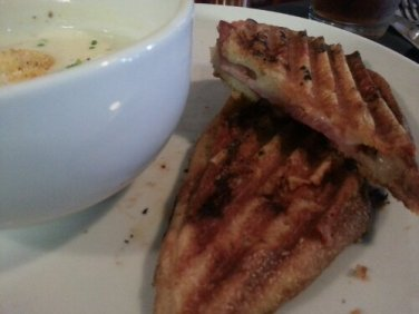 Grilled ham & cheese panini. Warm, crunchy and melt-in-your-mouth fabulous.