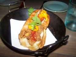 Fried clam roll, lemony mayo, kimchi vinegar, pickles - $9. One word: AMAZING. Soft bread, crunchy goodness and the peppers rock!