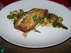 Cornmeal crusted haddock, brussels sprouts, bacon, pepper jelly - $25.