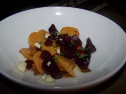 Wood roasted beets,pickled beet vinagrette, blue cheese and pine nuts - $6