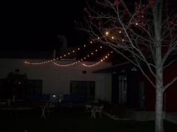 Lighting outdoors on the patio.