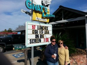 My friend Tori and I at Gnat's Landing (1 of  only 3 locations in the state)