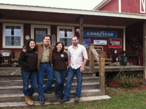 "A few family members of Hunter Cattle Company in front of MooMa's Farm Store. From left: Kristan, the oldest daughter; Del, ""Pa""; Debra, ""MooMa""; and Anthony, the oldest son."