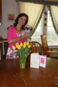 My mama, Debbie, with Ewok and her Mother's Day tulips.