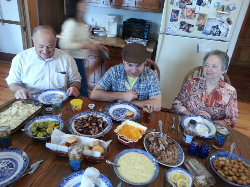 From left: Daddy, cousin Justin and Grandma Dot. Mama, the ultimate hostess, scurries in the background ensuring everyone is taken care of.