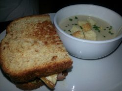 A great lunch combo! She Crab Soup with half a sandwich.