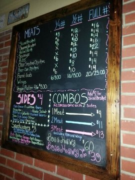 The menus are written on chalkboards throughout the restaurant.