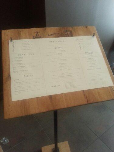 The menu is conveniently displayed at the doorway.