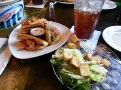Beautiful presentation served up with sweet iced tea.