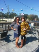Hanging out on the patio with April (right) at Gnat's on game day. Go Eagles!