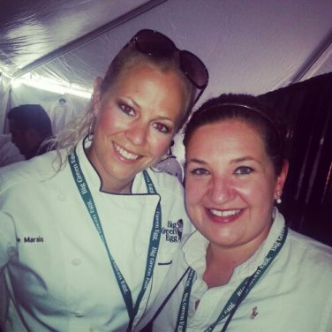 Backstage with Food Network Star Finalist Linkie Marais (left) prepping ingredients for her cooking demonstration.