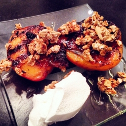 Grilled Peaches with Granola, Local Honey & Fresh Whipped Cream