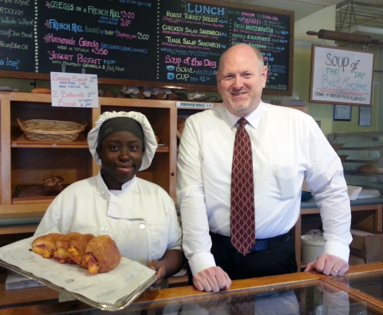 From left: Chief Baker, Sharena Williams and Barry Turner show off the fresh baked Ham & Cheese Rolls.