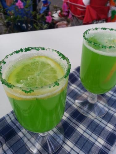 Trisha Yearwood's Green Punch with a few Some Kinda Good enhancements, like Vodka and a green sugar rim.