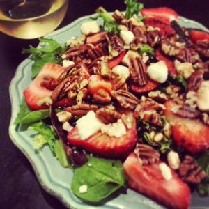Mixed Green Salad with Seasonal Strawberries and Candied Georgia Pecans