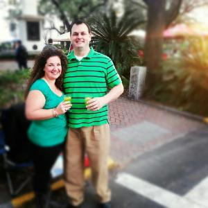 Rebekah and her good lookin' husband Kurt enjoy green punch on St. Patrick's Day 2014.