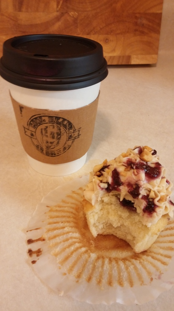 My Ethiopian coffee along with a Peanut Butter & Jelly cupcake.
