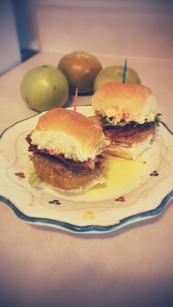 Bacon, Lettuce and Fried Green Tomato Sliders with Spicy Pimento Cheese