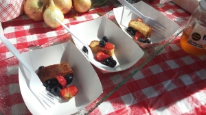 Samples of Honey Vanilla Pound Cake served with fresh macerated berries.