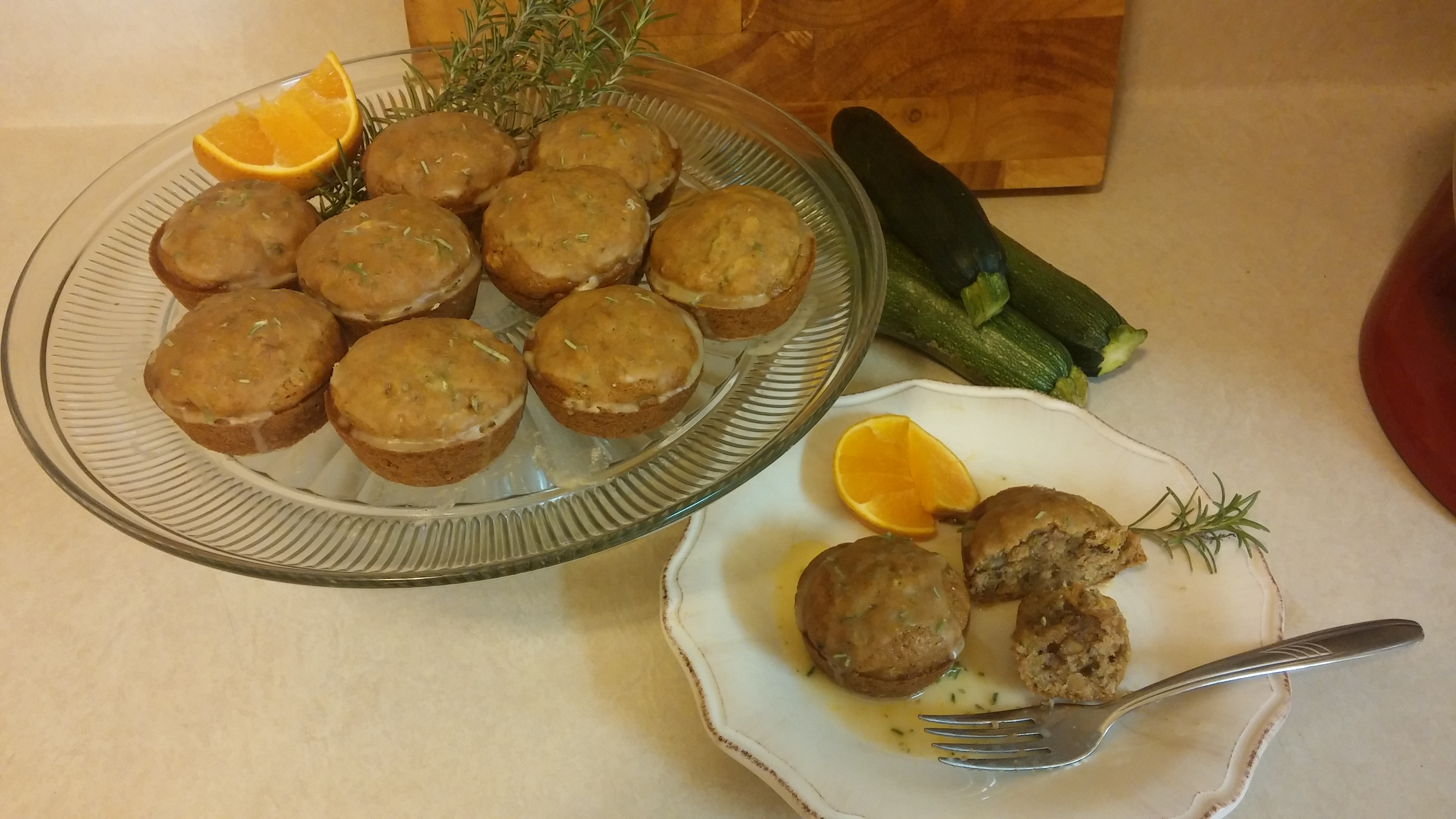 Zucchini Walnut Muffins with Citrus Rosemary Glaze