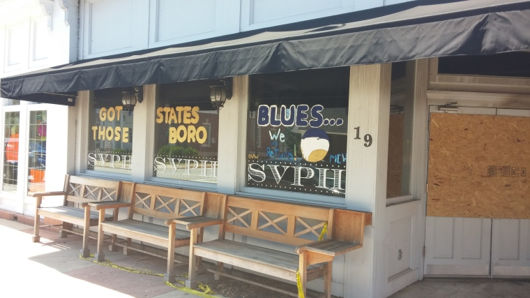 "After the fire, one of SVPH's loyal guests wrote the words, ""Got Those Statesboro Blues...We Will Return"" on the windows of the restaurant."