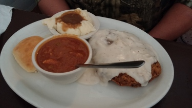 Country Fried Steak, Mashed Potatoes and Gravy, Brunswick Stew