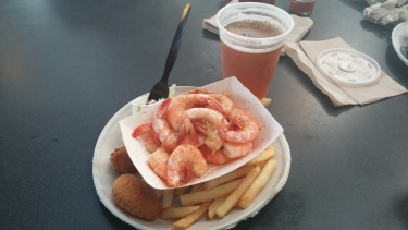 Boiled Shrimp served with fries, hush-puppies and slaw. I also got a local pale ale!