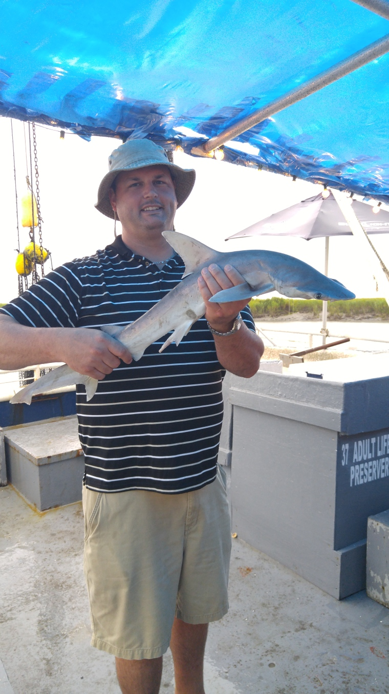 My good lookin', husband Kurt held the Bonnethead shark.