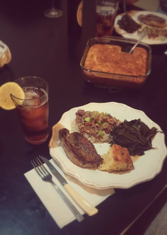 Pork chops, jalapeno corn bread, collard greens and hoppin' John make a fine meal to kick off the New Year.