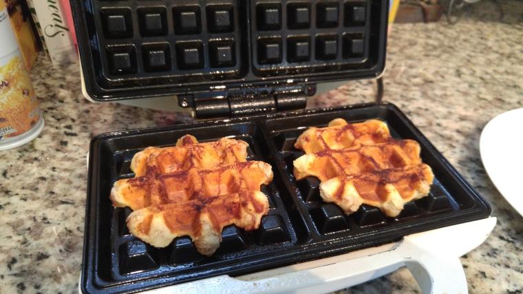 "Crispy, cinnamon roll ""waffle"" goodness."