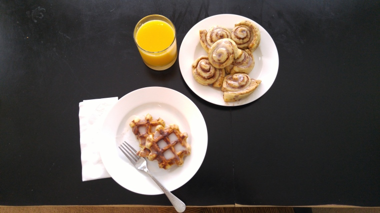 Cinnamon Roll Waffles make a quick & surprising breakfast.