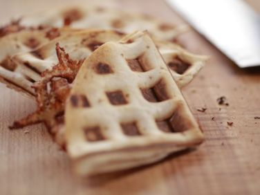 Ree Drummond's Waffle Maker Quesadilla combines cheese & salsa for a quick snack. Photo Credit: FoodNetwork.com