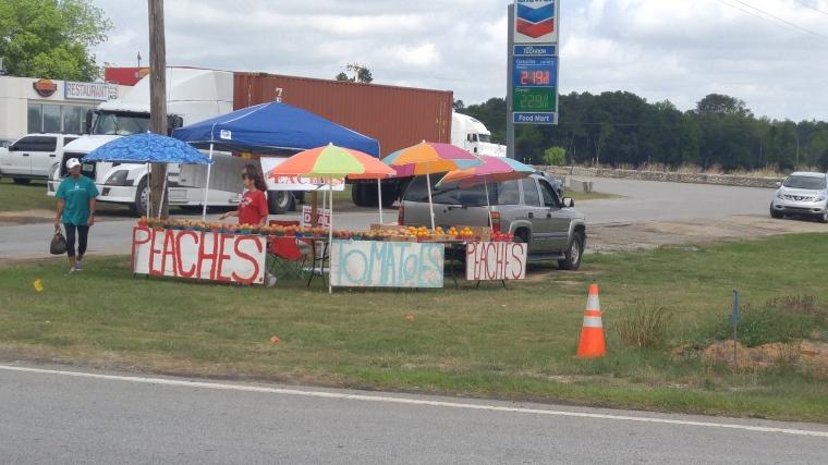 A roadside stand sells fresh summer fruit.
