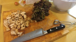 Chopped cooked chicken and fresh salad greens