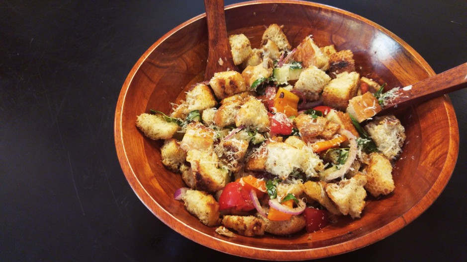 A Tuscan salad, Grilled Panzanella features vegetables in season and grilled bread.