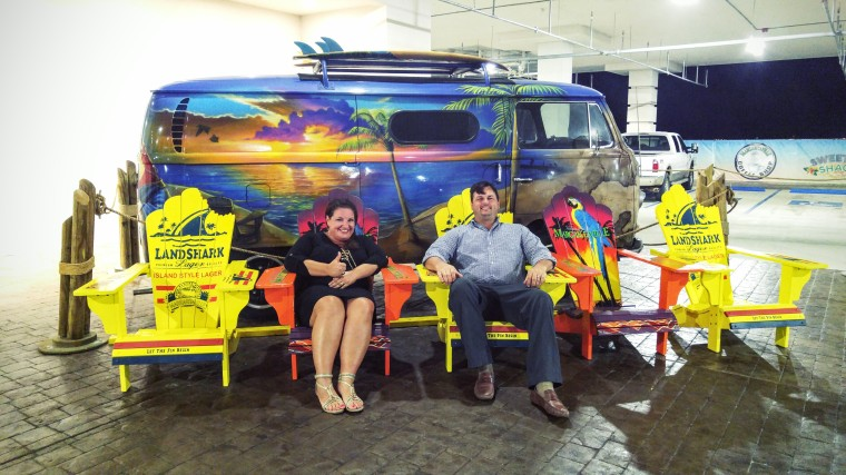 Chillin' in the LandShark chairs at Jimmy Buffet's Margaritaville. Biloxi, Mississippi