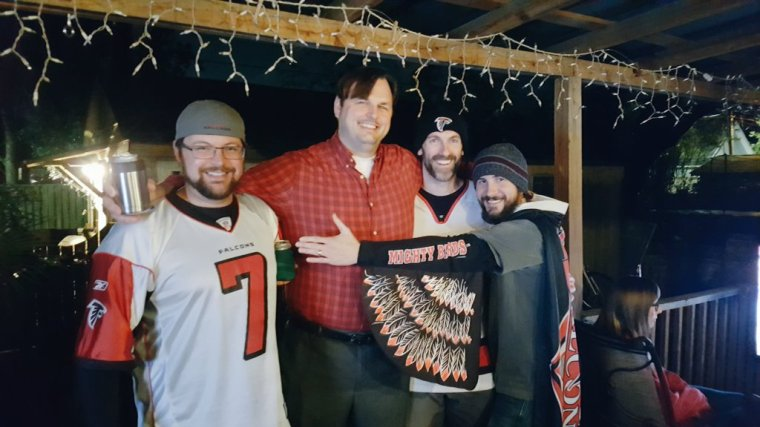 Kyle, Kurt, Patrick and Chris celebrate Super Bowl 2017 in true Atlanta Falcons style. #DirtyBirds