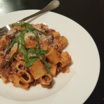 Venison Rigatoni comes together quickly with a good quality jarred tomato sauce, freshly grated Parmesan cheese and basil.